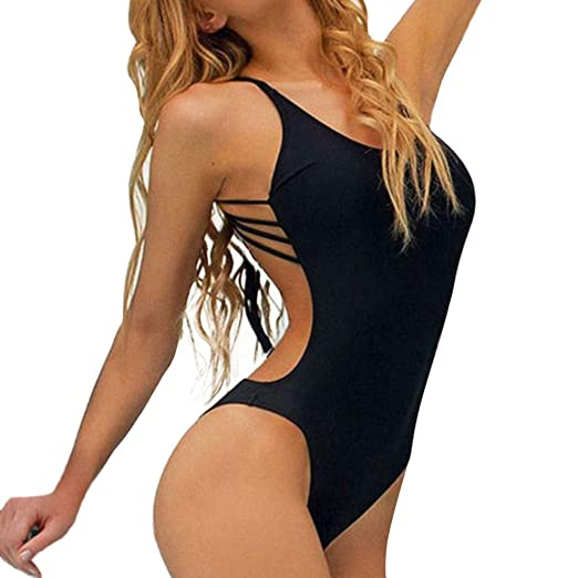 1a6154d388d Howstar Women s Halter Padding One Piece Swimsuit Sexy Tummy Control  Swimwear (Black
