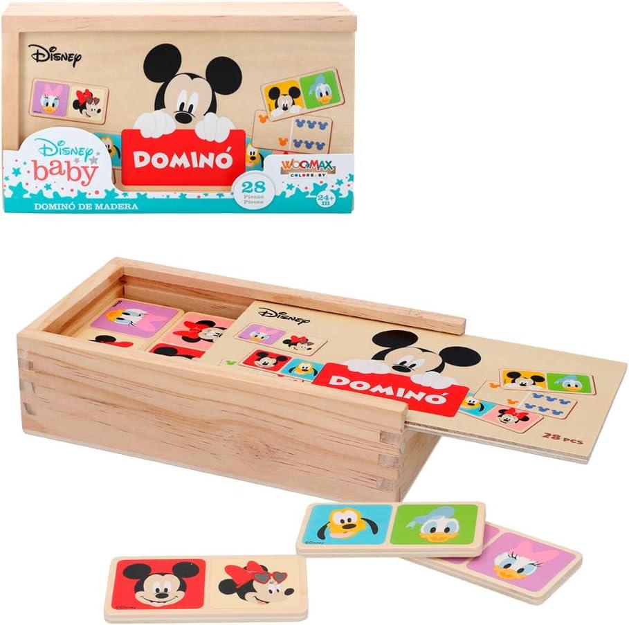 Disney - Domino madera infantil Juego de mesa para niños 2 3 4 años - Juegos de memoria Juegos Juguetes educativos Niños 2 años - Juegos estimulación cognitiva Domino Mickey