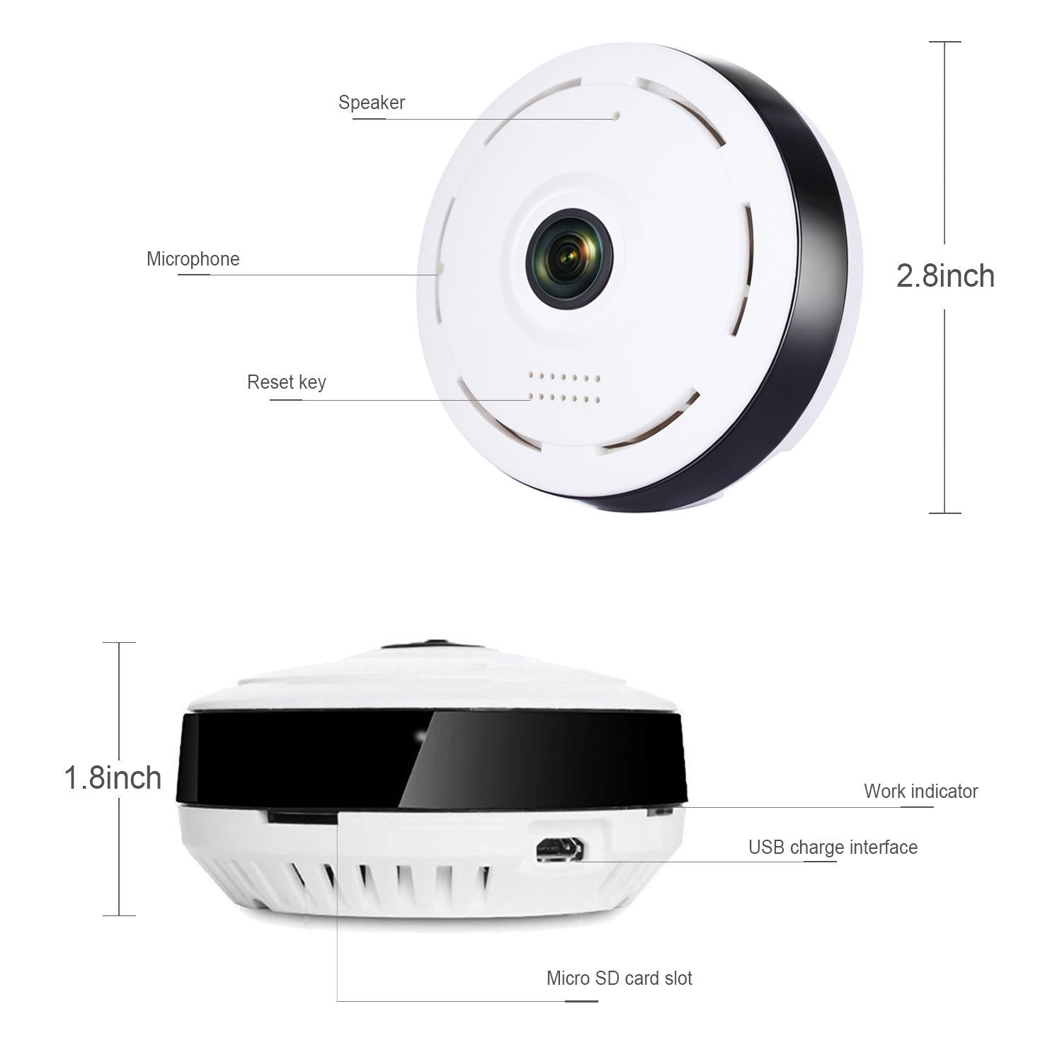 Smart WiFi Home Security Camera,360 Degree Panoramic Camera with IR Night Vision/2-Way Audio/Motion Detection,Welcome Download APP to Check More Function by TK-STAR (Image #5)