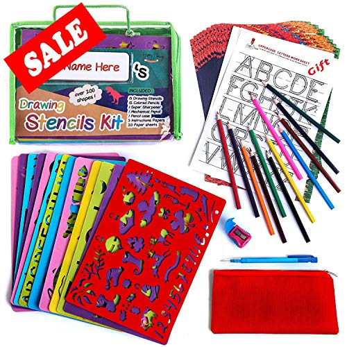 Drawing Stencil Set - 50-Piece Crafting Kit for Kids - Best Travel Activities for Toddlers - Fun & Educational Toy for Children 3+ Years Old - Ideal for Girls & Boys - Perfect as Birthday Gift