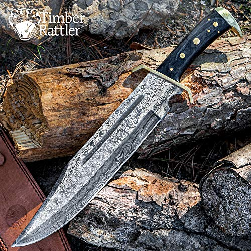 Knife Bowie Classic (Timber Rattler Western Outlaw Damascus Bowie Knife)