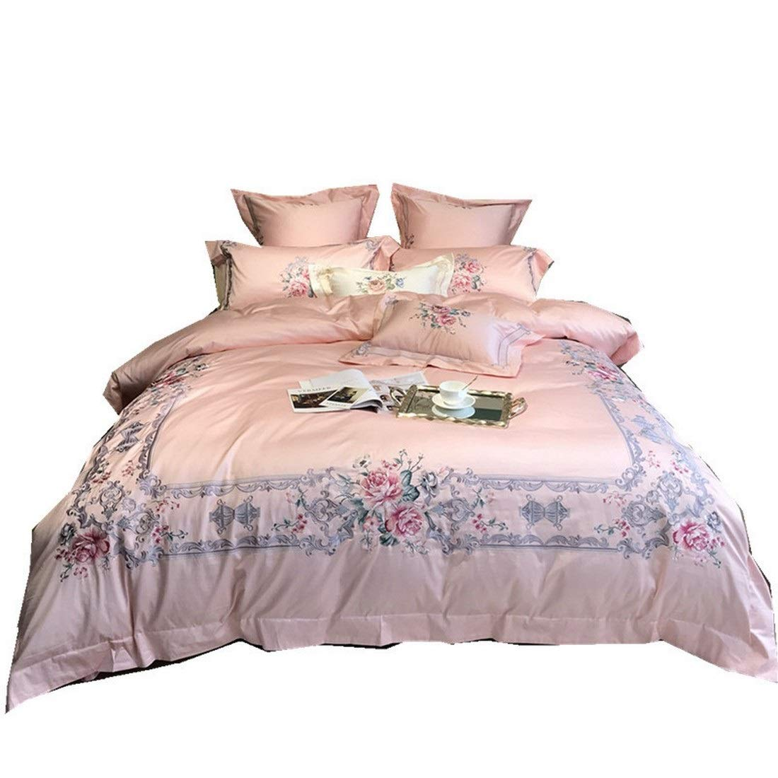 Kainuoo シンプルな花ピンクのハイエンド刺繍ピュアコットン寝具4点セット (Size : QUEEN) B07N8NQK5N  Queen