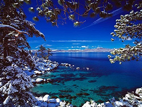 (Lake Tahoe In Winter -Oil Painting On Canvas Modern Wall Art Pictures For Home Decoration Wooden Framed (12X16 Inch, Framed) )