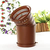 FANPING Orchid Flower Pot 8 Inch Mesh Plastic Flower Pot With Holes Mesh Plastic Round Flower Pot For Indoor And Outdoor Garden Plants-exterior And Interior (Color : Brown)