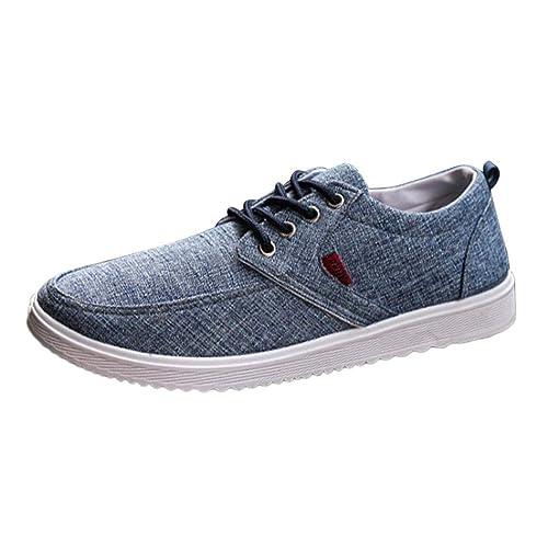 Zapatos Planos de Lona con Cordones Hombre - Logobeing Zapatos de Cordones Casual Zapatos Cómodos Calzado