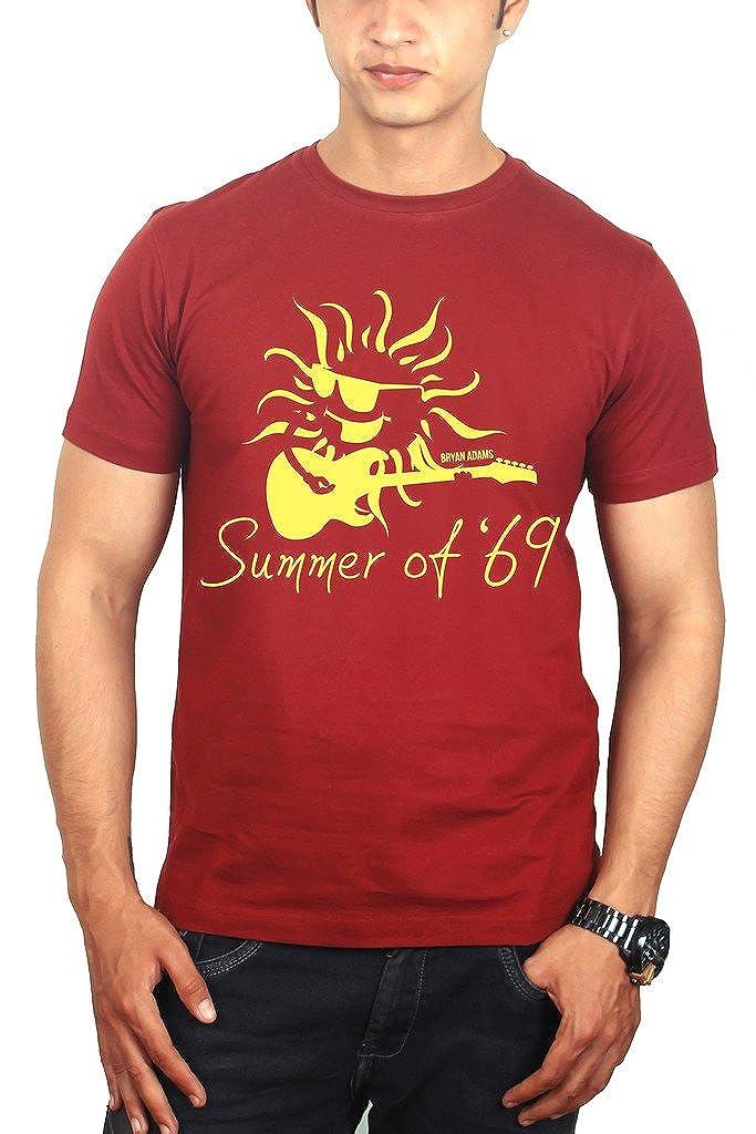 7ecd1fb7db87 The Banyan Tee Summer of 69 Tshirt – Bryan Adams Merchandise by TBT Maroon   Amazon.in  Clothing   Accessories