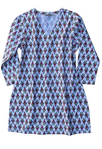Ayurvastram KRITI Hand Block Printed Cotton V Neck Tunic: Strawberry Print - Hand Block Print