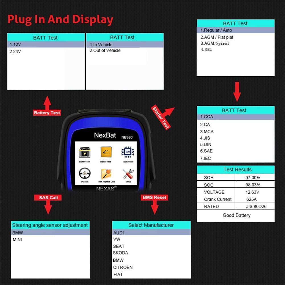 anne210 12V/24V Battery Tester Starter & Charging System 100-2000 CCA Battery Tester Battery Registration Scan Tool by anne210 (Image #2)