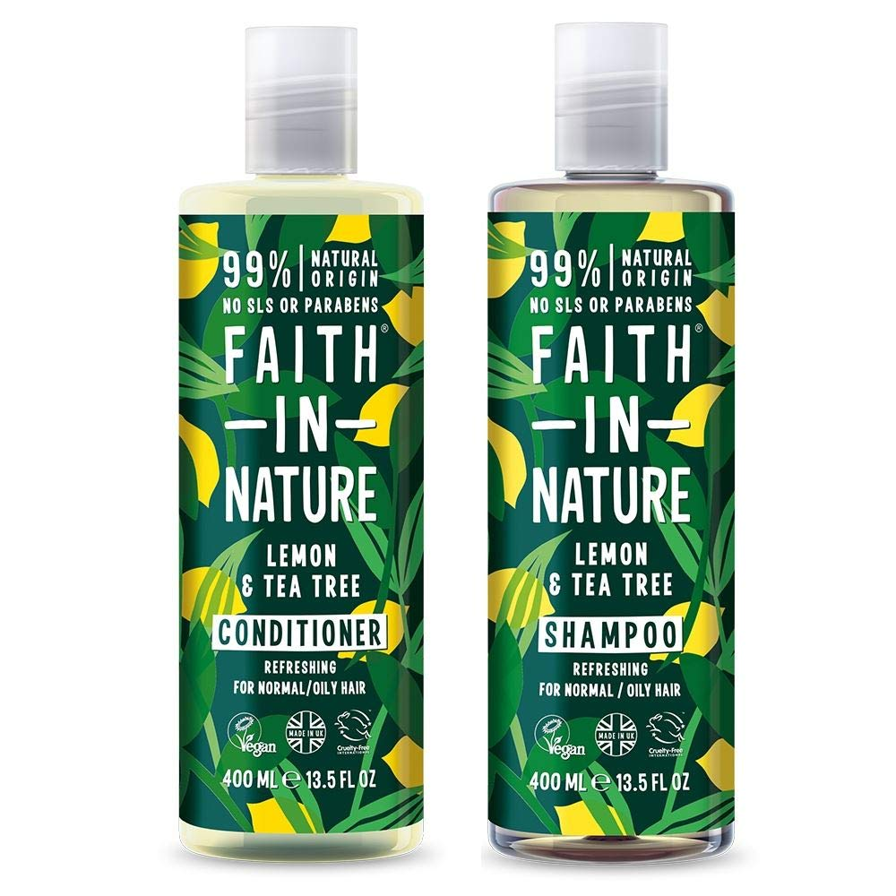 Faith In Nature Lemon & Tea Tree Shampoo 400ml & Conditioner 400ml Duo | Vegan | Cruelty Free | 99% Natural Fragrance | Free From SLS or Parabens