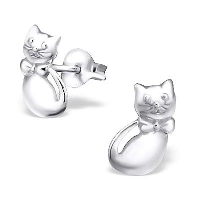 Kinder Ohrstecker 925 Silber Mädchen Ohrringe Katze Einhorn