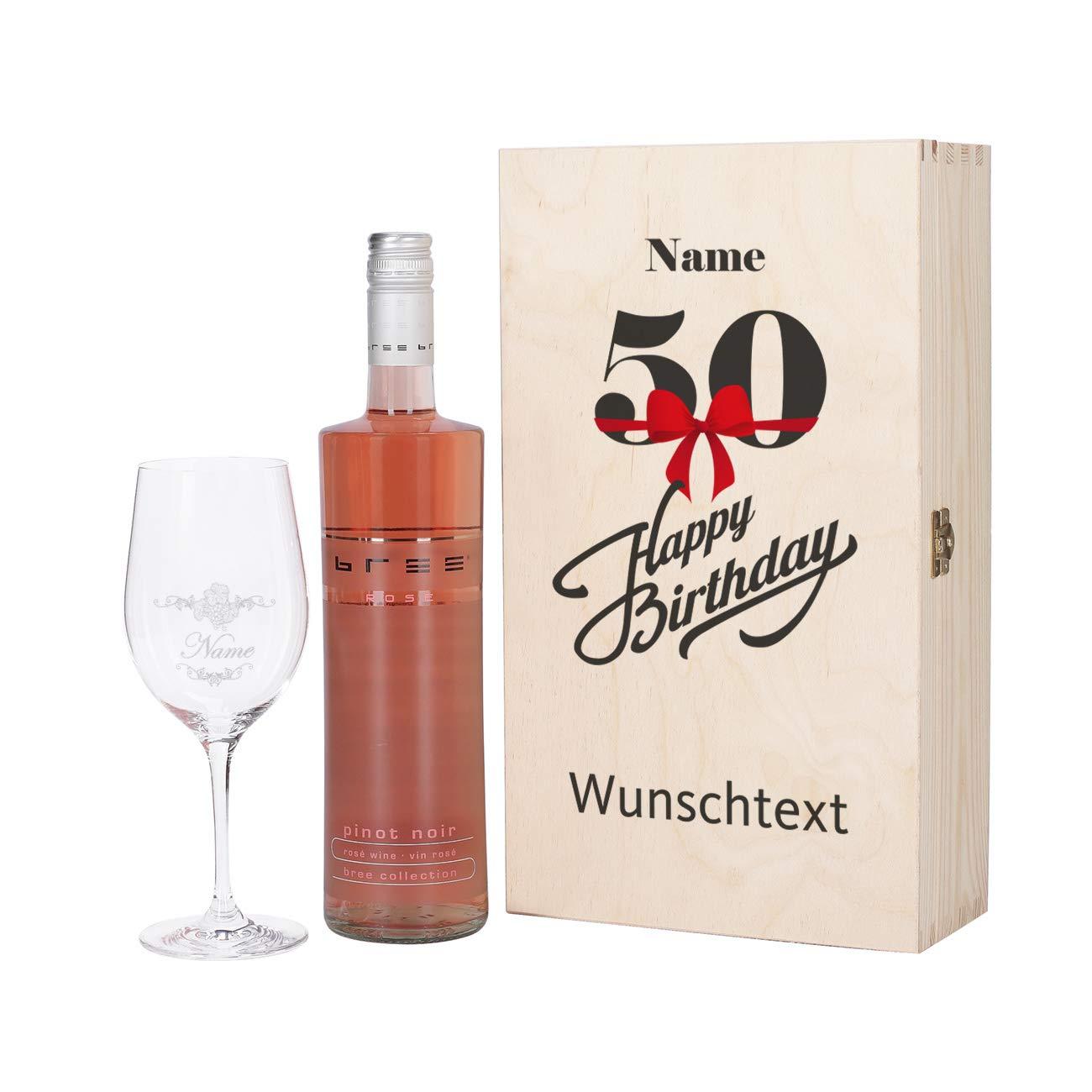 Treffen Tropfenverschiffen angemessener Preis Herz & Heim® Bree Wein-Präsent zum 50. Geburtstag mit graviertem Weinglas  und Bree Wein zur Auswahl in Geschenkkiste Rosé