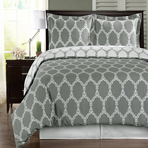 Deluxe Reversible Brooksfield Comforter Set, 100% Cotton 300 Thread Count Bedding, Woven with Superior Single-ply Yarn. 4 Piece King/California King Size Comforter Set, Gray and White