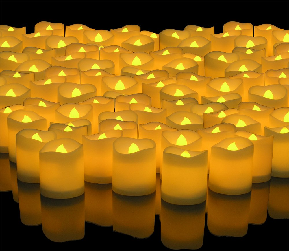 Banberry Designs LED Lighted Flickering Votive Style Flameless Candles - Banberry Designs - Box of 192 - Wedding Decorations - Faux Candles - Flameless Candle Set – Centerpieces by Banberry Designs