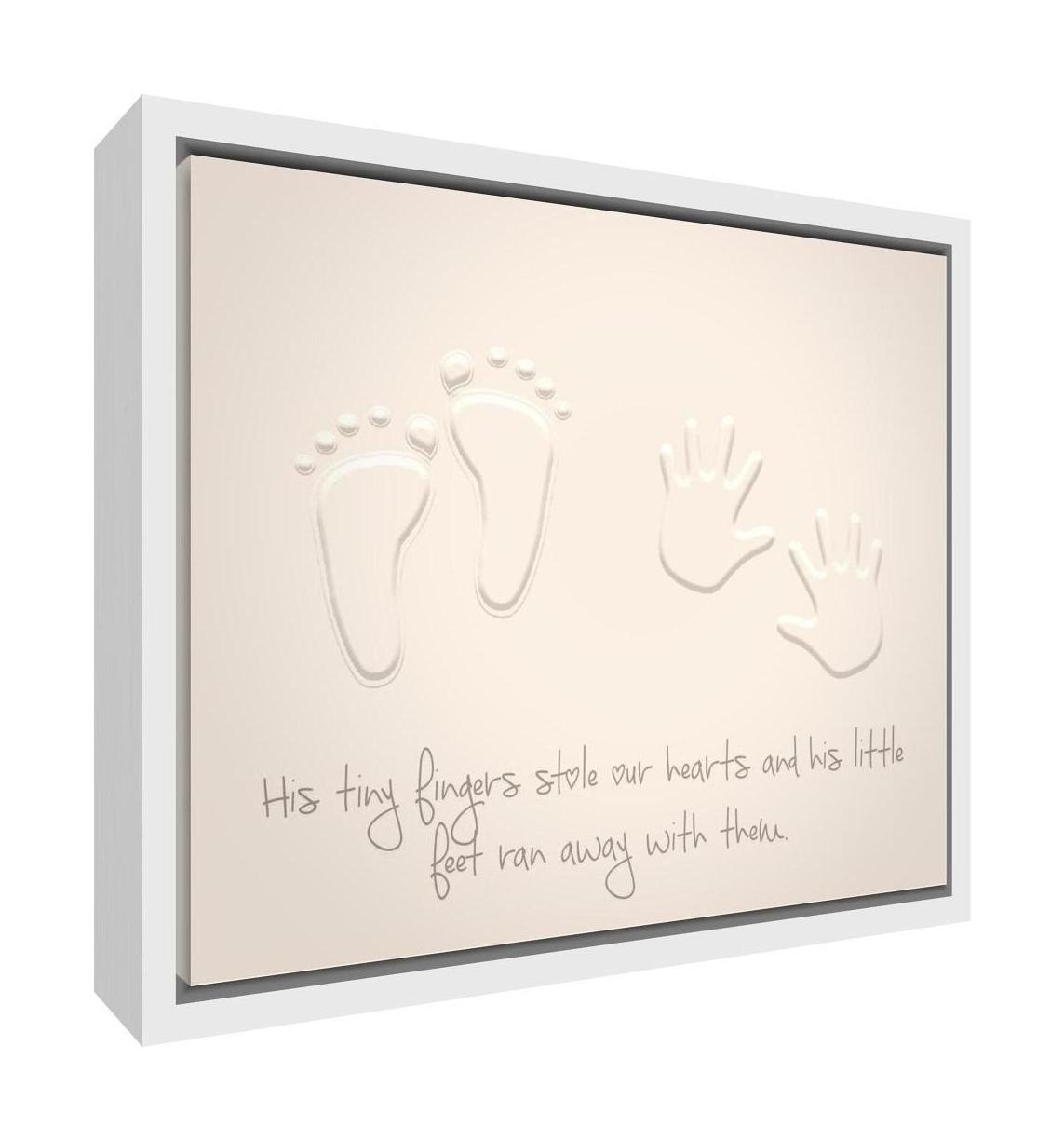 Feel Good Art Framed Box Canvas with Solid White Wooden Frame in Modern and Stylish Design (24 x 34 x 3 cm, Small, Soft Grey, Be Kind/Be Beautiful/Be You) Little Helper Ltd BOYHEARTFEET128-FCWHT-19