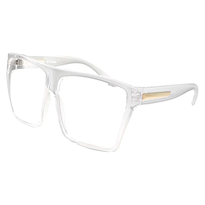 a73200a4f33 XL Super Oversized Clear Frame Lens Glasses Flat Top Square Eyeglasses   Amazon.ca  Clothing   Accessories