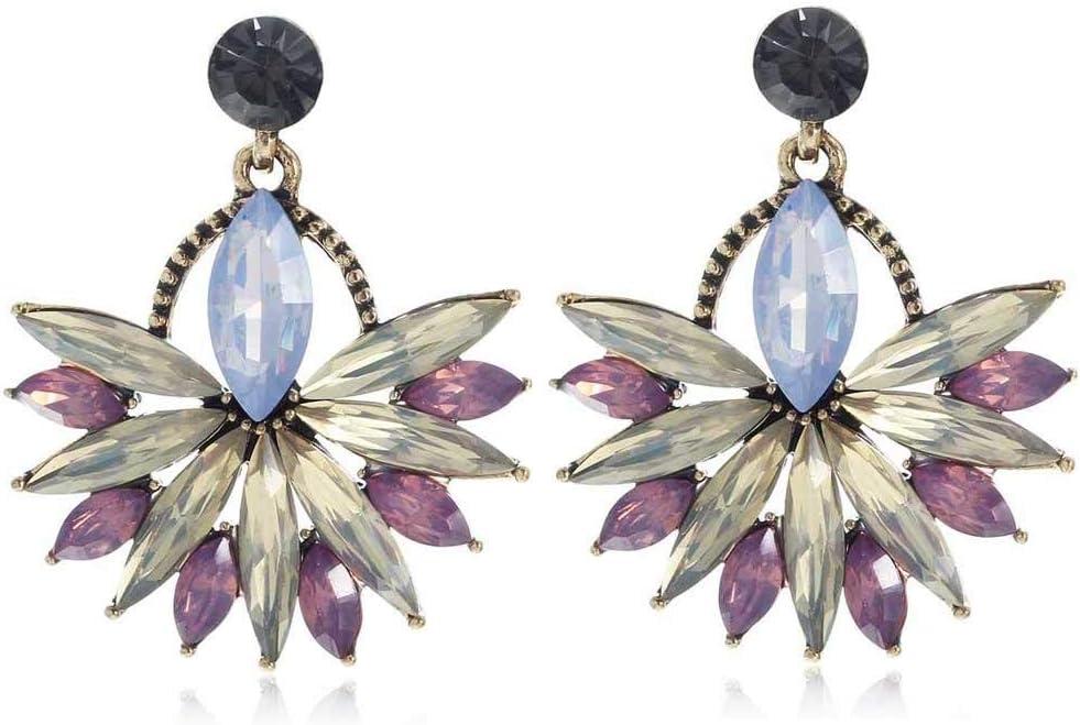 Erin Pendientes Colgantes De Diamantes De Imitación Negros De Cristal Morado Blanco Pendientes De Piedras Preciosas De Oro Antiguo De Moda para Mujer E854