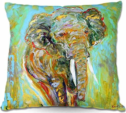Decorative Woven Couch Throw Pillow from DiaNoche Designs by Karen Tarlton Home Unique Bedroom, Living Room and Bathroom Ideas Elephant