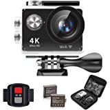 """IXROAD Action Camera 4K Ultra HD 12MP (2"""" LCD Screen WiFi Underwater Sport Cam) 170° Wide Angle Lens Waterproof Helmet Camera Camcorder with Remote Control, 2 Batteries, Accessories Kits (Black)"""