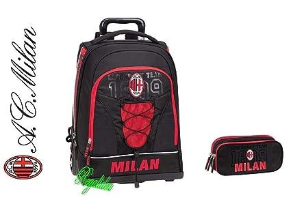 Mochila con ruedas para escuela AC Milan 2019, color rojo, estilo ...