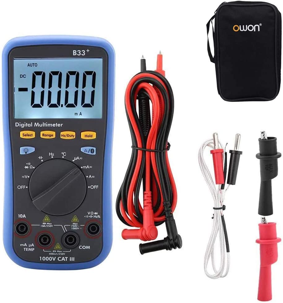 OWON B33 LCD Display Digital Bluetooth Multimeter for Measuring AC DC Voltage Current Resistance 1000V,Offline Recording
