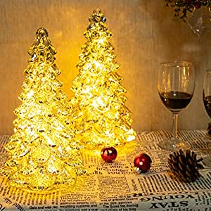KI Store Mercury Glass Lighted Christmas Tree Figurine with Lights Set of 2 Battery Operated Christmas Decoration for Window Tabletop Mantel (Tree)