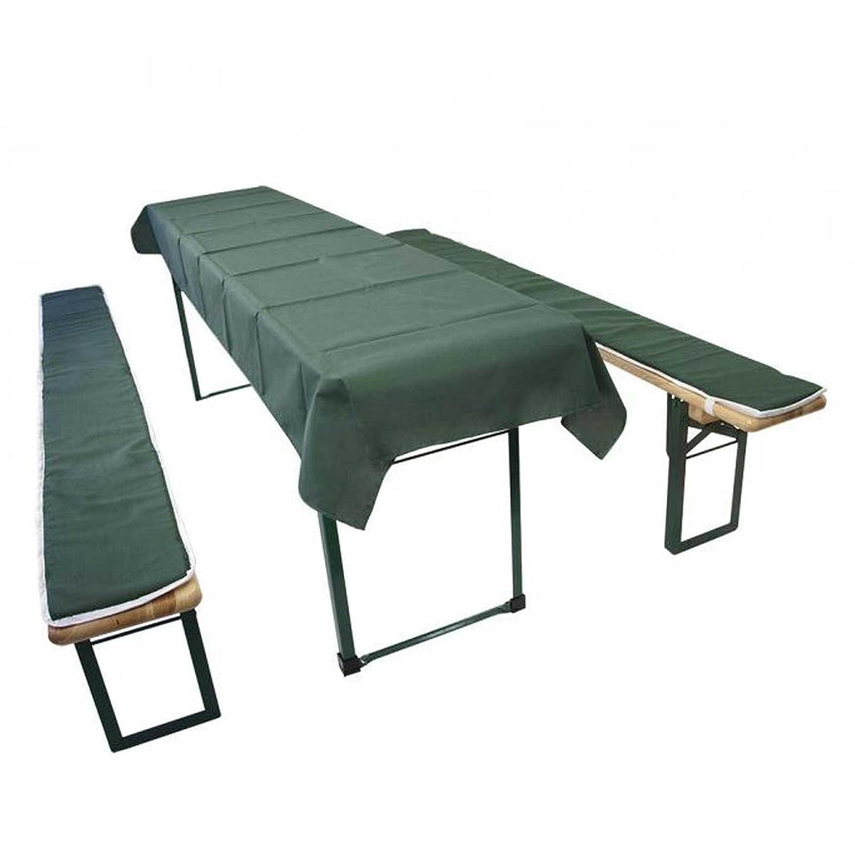 Gartenmoebel Auflagenset KURZ 3-teilig für Festzeltgarnitur, dunkelgrün Bierzeltgarnitur Sitzauflage Polsterauflage