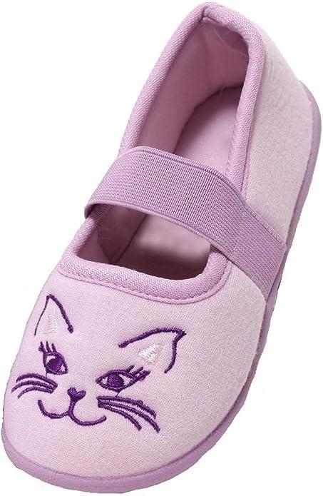 Zapato Mädchen Hausschuhe Ballerina Slipper Kinderschuhe Mädchenschuhe Softschuhe Kinder Schuhe Katze lila Lavendel Elastik Riemchen Gr. 26–29