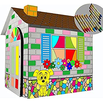 Littlefun Kid's Foldable Premium Corrugated Cardboard Playhouse Kit Child Outdoor Indoor DIY Painting Imagination Toy Play House Markers Included(Cartoon Cottage)