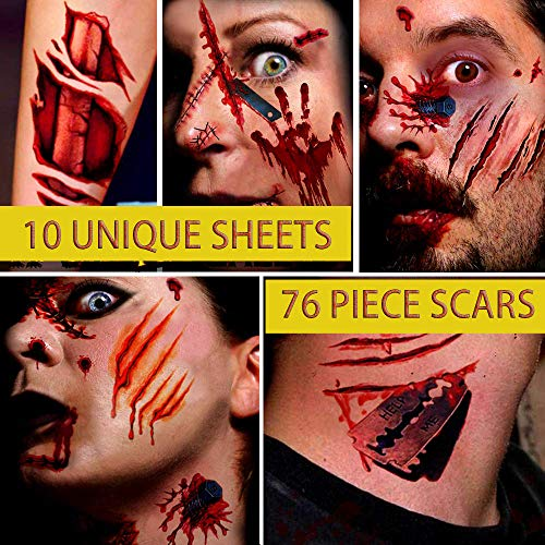 True Blood Couples Costumes - Halloween Zombie Scar Tattoos Stickers -