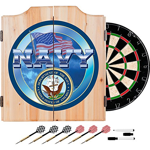 US Navy Design Deluxe Solid Wood Cabinet Complete Dart Set by TMG