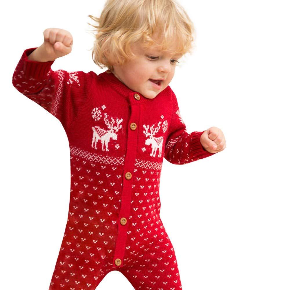 FIRSS Baby Rentier Overall Weihnachten Jumpsuit Strick Cardigan Pullover Lange Ä rmel Pyjama Drucken Elch Festlicher Weihnachtskostü m