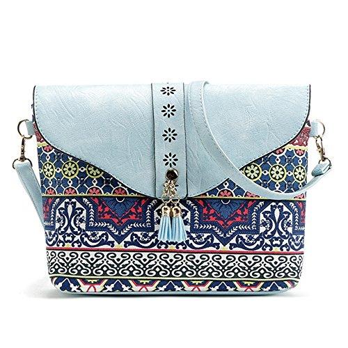 Purse DukeTea Flap Medium Crossbody Womens Top amp; Print Blue Sky Multicolored with Bag SzRztqxw