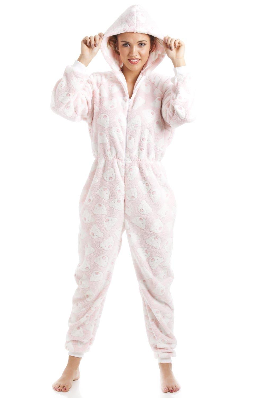 383dad59e50c Schlafanzug-Overall mit Kaupuze - weicher Fleece - Pink mit weißem  Bärenmuster Camille
