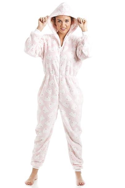Camille Pijama de una pieza con capucha - Forro polar supersuave - Estampado de ositos - Rosa: Amazon.es: Ropa y accesorios