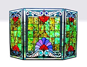 "CHLOE Lighting 3 Pieces Folding Tiffany-glass Fireplace Screen 44"" Wide"