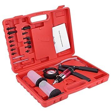 Topolenashop Kit Bomba de Vacío Manual para Purga de Freno Embrague Coche Moto probador 2 tarros: Amazon.es: Coche y moto