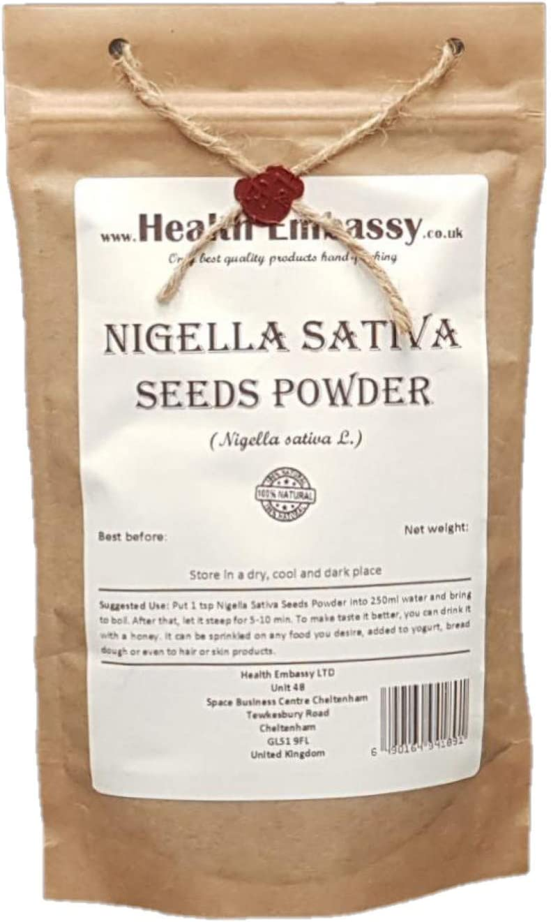 Semillas de Comino Negro Polvo (Nigella sativa) / Nigella Sativa Seeds Powder - Health Embassy - 100% Natural (50g)