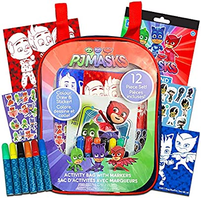 Cra Z Art 21301 Red//Blue Cra-Z-Art PJ Masks Coloring and Activity Backpack Childrens-Drawing-Pads-and-Books,Colors may vary