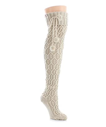 ab967d533 Legmogu e Interdiamond Chunky Knit Over The Knee Warm Socks Antique Ivory  LF5 5800 One