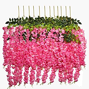 U'Artlines 24 Pack 3.6 Feet/Piece Artificial Fake Wisteria Vine Ratta Hanging Garland Silk Flowers String Home Party Wedding Decor Extra Long and Thick (24, Pink) 4