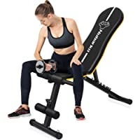 Weight Bench ,Adjustable Weight Bench with Wider Backrest/Seat for Full Body Workout Home Gym Strength Training Press bench with Easy Folding [2020 New Version]