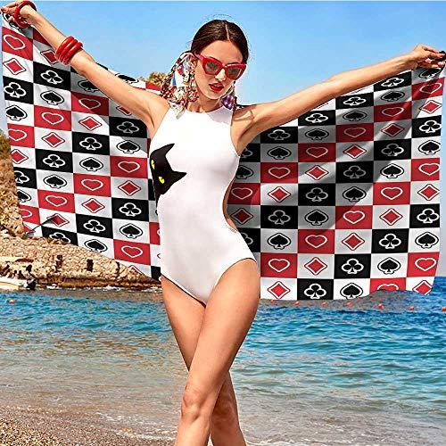 alisoso Casino,Print Bath Towels Checkered Card Suits Luck W20 xL39 Women Towels Bathroom Microfiber