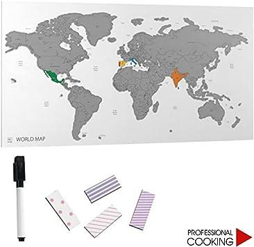Pizarra magnética mapamundi gris con tizas colores y imanes cm. 60 x 40: Amazon.es: Juguetes y juegos