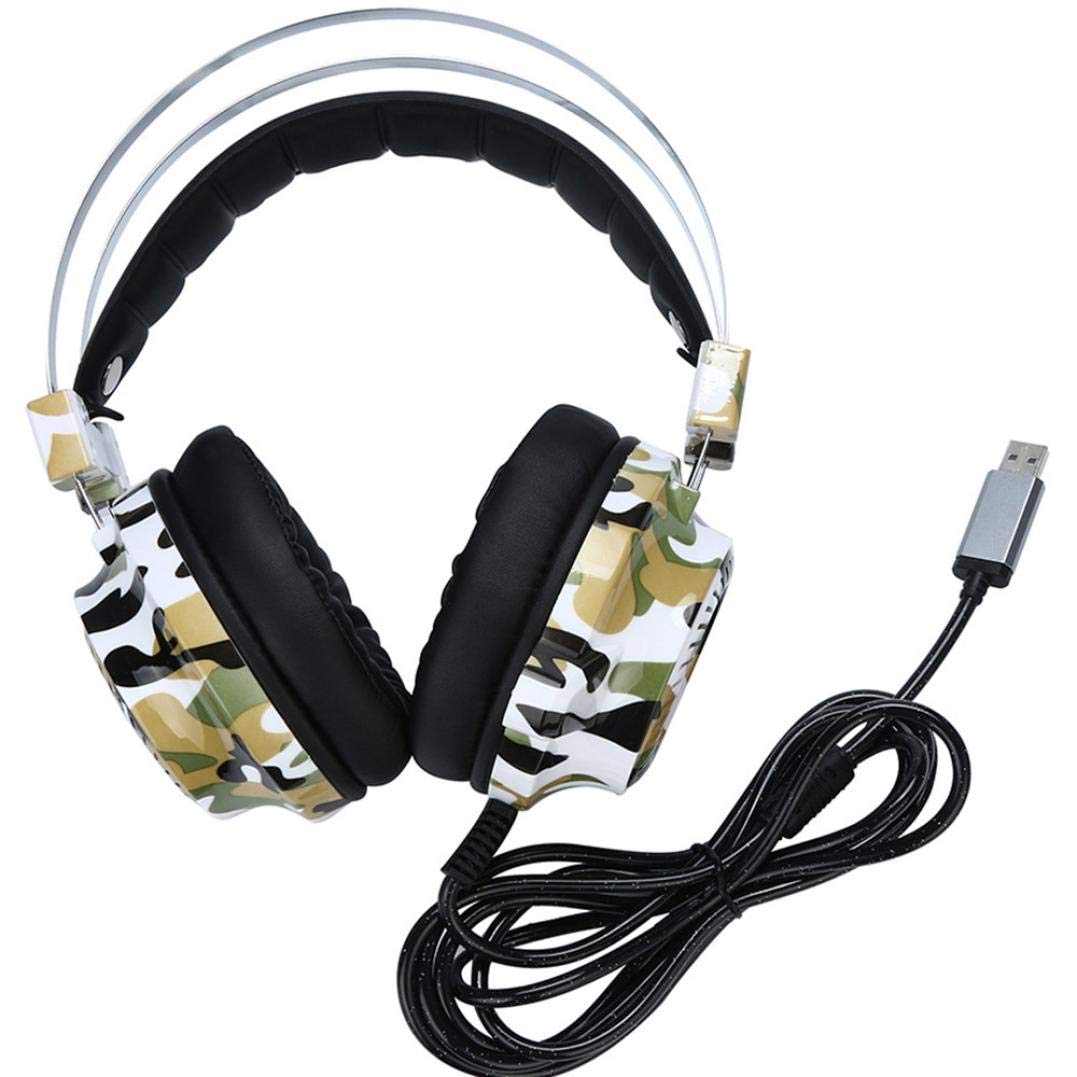 SUKEQ Gaming Headset for PS4, Camouflage Wired Earbuds Stereo Earphone with Mic, Noise Cancelling Over Ear Headphone for Laptop, Mac, iPad, PS4 PC