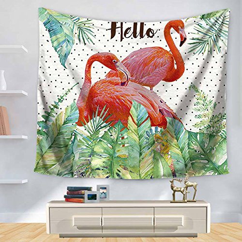 - ChezMax Animals Pattern Square Polyester Tapestry Multi Purpose Decorative Wall Hanging Mural Art for Bedroom Flamingos Green and Red 59