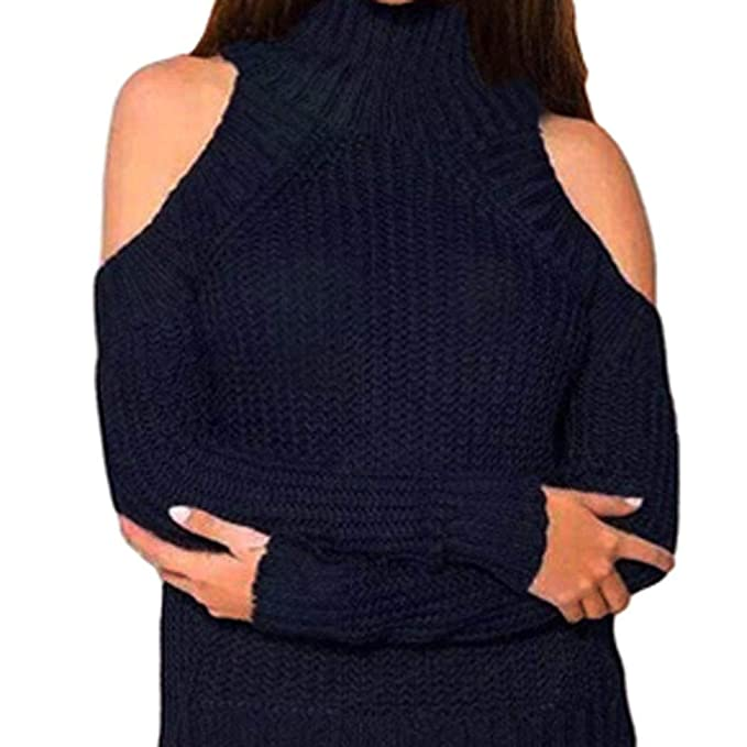 UFACE Damen Fashion Solid Langarm Top Strickpullover Sweater Strapless  Bluse Solid Color Langarm Strick Off-Shoulder Pullover Rollkragen Top   Amazon.de  ... b398df0cec