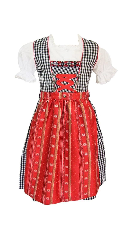 Isar Trachten Kinder Dirndl Marina - Schwarz Rot 3-tlg. - Mädchen Kleid mit Bluse Gr. 92