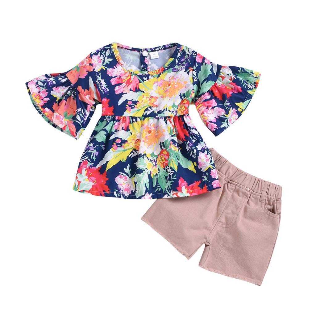NUWFOR Toddler Kids Baby Girls Ruched Floral Flowers Tops Solid Short Casual Outfit Set(Navy,12-18 Months)