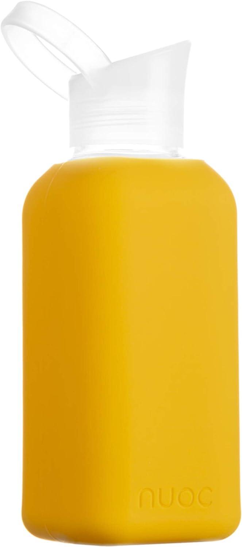 Botella de agua cristal | 500 ml. | Botella de agua reutilizable | Botella de cristal con funda de silicona. Bebidas frías y calientes, sin BPA, ecológica y ligera. Deporte, oficina, yoga, gimnasio