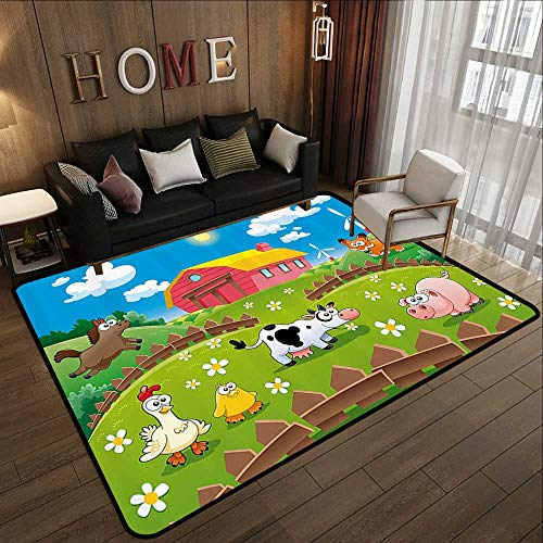 Office Floor mats,Cartoon,Farm with Cow Fox Chicken Pig Horse in The Fences Countryside Rural Children Design,Multicolor 78.7